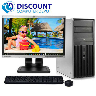 "HP DC Desktop Computer PC Tower Intel Dual Core 4GB 160GB DVD WiFi 17"" LCD"