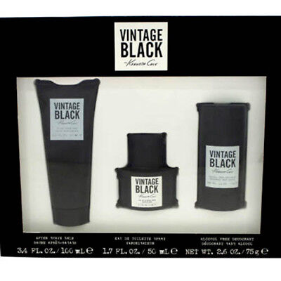 Black Gift Set Cologne - KENNETH COLE VINTAGE BLACK 1.7 COLOGNE, 3.4 after shave balm, 2.6 DEO (GIFT SET)