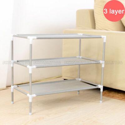 3 Tier Shoes Rack Stand Storage Organizer Fabric Shelf Holder Stackable Closet