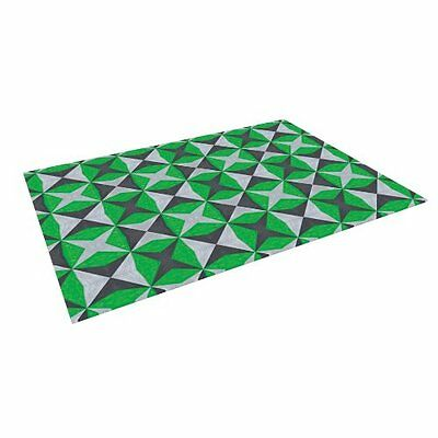 "Kess InHouse Empire Ruhl ""Silver Green Abstract"" Outdoor Floor Mat/Rug 4 x 5'"