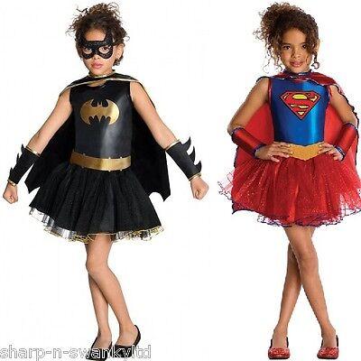 Mädchen Supergirl Batgirl Tutu Hero Büchertag Halloween Kostüm Kleid Outfit