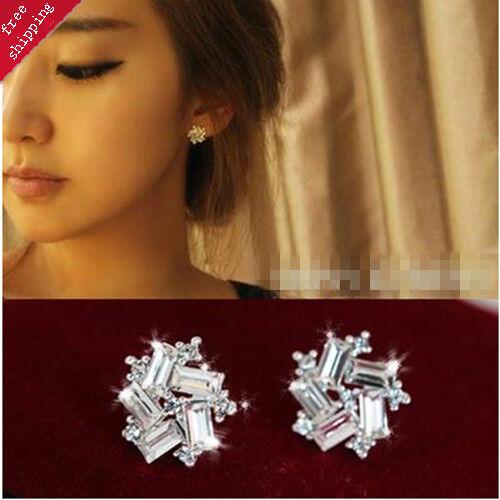 Women Lady Fashion New Elegant Windmill Crystal Rhinestone Ear Stud Earrings