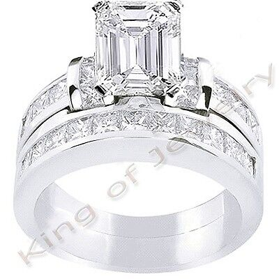 3.70 Ct. Emerald Cut Diamond Engagement Bridal Set J VS1 GIA 14k