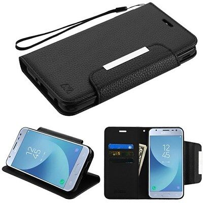 (BLACK Flip Leather Wallet Case Cover w/ Strap For Samsung Galaxy J3 2018 V Star)