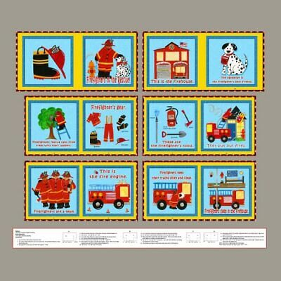 Five Alarm Fire Fireman Cotton Fabric Blank Tex Story Book Project 36