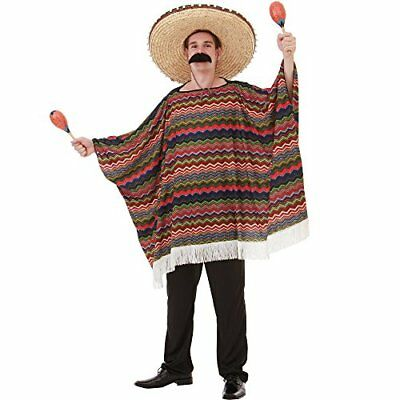Saltillo Serape Men's Halloween Costume Mexican Fiesta Mariachi Poncho Outfit - Poncho Halloween Costume