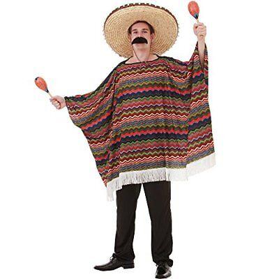 Fiesta Costume (Saltillo Serape Men's Halloween Costume Mexican Fiesta Mariachi Poncho)