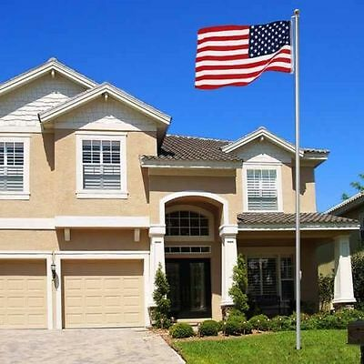 16ft Aluminum Outdoor Sectional Flagpole Kit Halyard Pole 3x5 US Flag ()