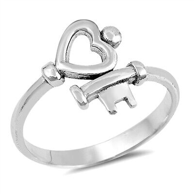 Key To My Heart Ring Sterling Silver 925 Best Jewelry Face Height 13 mm Size -