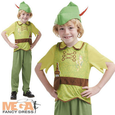 Peter Pan Boys Fancy Dress Disney Fairy Tale Kids World Book Day Costume Outfit