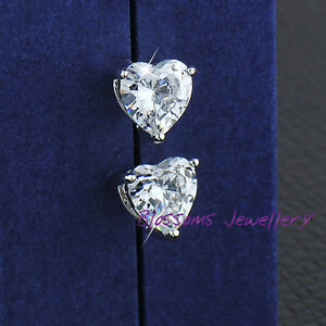 18K 18CT White GOLD GF Heart Shape SWAROVSKI Lab DIAMOND Stud EARRINGS ES449
