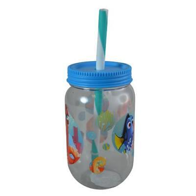 Straw Jar (Finding Dory Blue 19 Oz Lid Jar Tumbler with Straw Container Kid Sports)