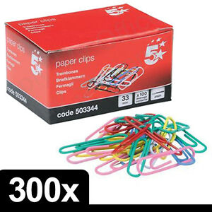 300 x Quality Assorted Mix Coloured Plain Paper Clips 33mm Steel Metal with Box