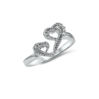 925 Sterling Silver Toe Ring Clear Heart CZ Cubic Zirconia Adjustable