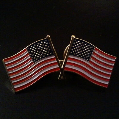 """Pin Lapel Patriotic Two U.S Flags God Bless the USA - 1 1/2"""" L x 5/8"""" H"""