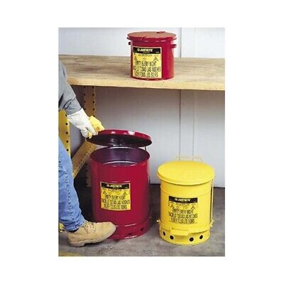 Justrite 09100 6 Gallon Oily Waste Can W Foot Operated Cover Red