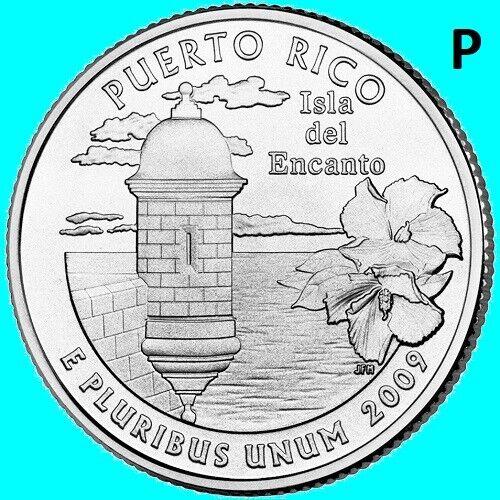 2009 P Puerto Rico PR Quarter DC US Territory State  ~ UNC  2nd ~ Toned