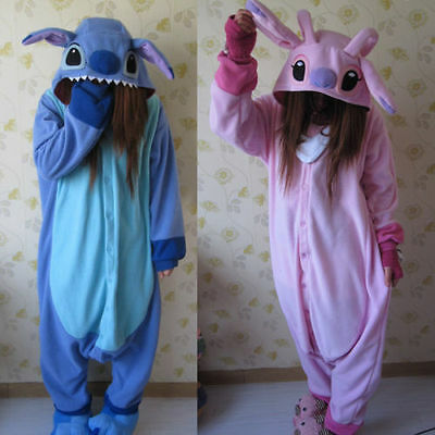 Adult Animal  Kigurumi Pajamas Costume Cosplay Pyjamas Blue Stitch Angel Onesie1