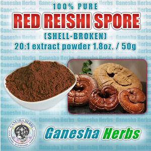 100% PURE ORGANIC RED REISHI  (SHELL-BROKEN) SPORE 20:1 EXTRACT POWDER 1.8 oz.