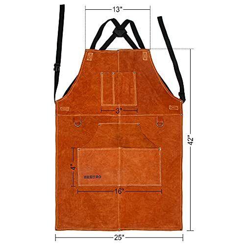 "Leather Welding Apron Woodworking Shop Apron Tool Apron 6 Pockets 36"" Resistant"