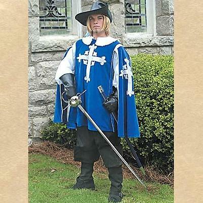 MUSKETEER Renaissance Era Mens Blue TABBARD and White SHIRT ENSEMBLE COSTUME - Renaissance Era Costumes