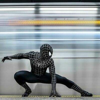 Black Venom Spiderman Cosplay Costume Spider-man Zentai Suit for Adult / Kids ](Black Suit Spiderman Costume)