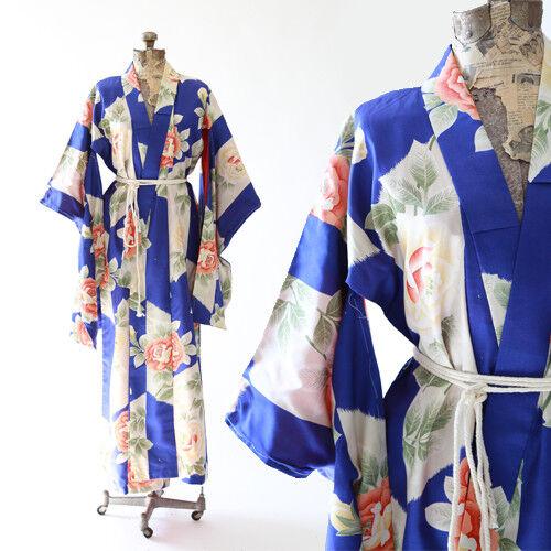 Vintage 50s floral ROSE silk Japanese KIMONO wedding coat Jacket Robe