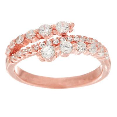 Diamonique Rose - Diamonique Graduated Asymmetrical 14K Rose Clad Sterling Silver Ring Size 6 QVC