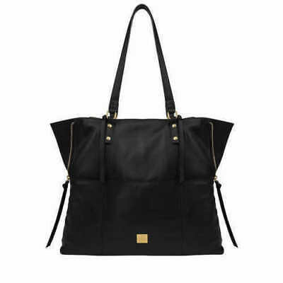 - Kooba Genuine Leather Tote Bag Black Sz Med Shopping Shoulder Bag Zips Close