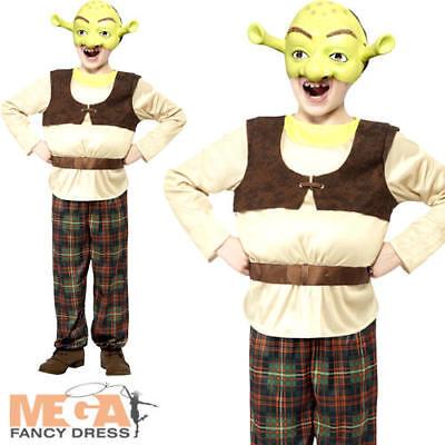 Shrek Boys Fancy Dress Fairytale Ogre Kids Childrens Halloween Costume + Mask - Halloween Kids Shrek