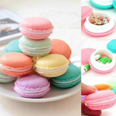 Cute Lovely Candy Color Mini Macarons Jewelry Earrings Storage Box Case Gift LOT