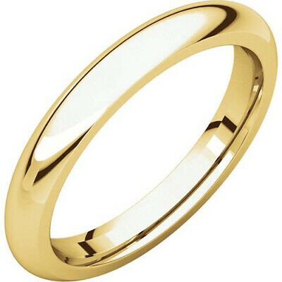 3mm 18K Solid Yellow Gold Plain Dome Half Round Comfort Fit Wedding Band Ring 3mm Half Round Wedding Band