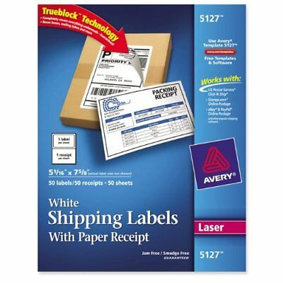 Avery Shipping Label With Paper Receipt - 5.06 Width X 7.63 Length - 50 Pack