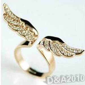 2013 New Hot Fashion Lovely Crystal Angel Wing Rose Ring Cute Finger Gold Ring