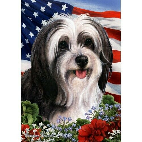 Patriotic (1) House Flag - Black and White Tibetan Terrier 16478