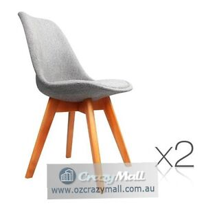 Set of 2 Padded Fabric Dining Chair Grey Melbourne CBD Melbourne City Preview