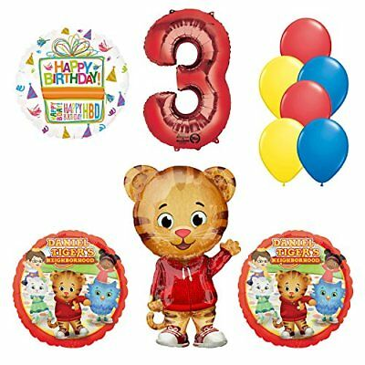 Daniel Tiger Neighborhood 3rd Birthday Party Supplies and Balloon Decorations - Tiger Birthday Party Supplies