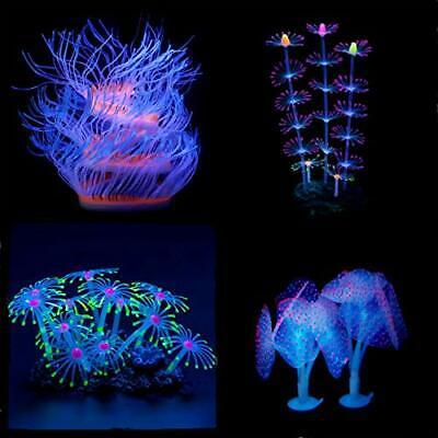Aquarium Fish Tank Ornament,Coral Plant Decorations Glowing Silicone Accessories