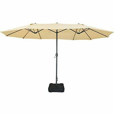 15 FT Patio Double Sided Umbrella with Base, Extra Large Twin Outdoor...