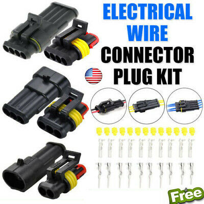 10set 234 Pins Way Amp Super Seal Waterproof Electrical Wire Connector Plug Us