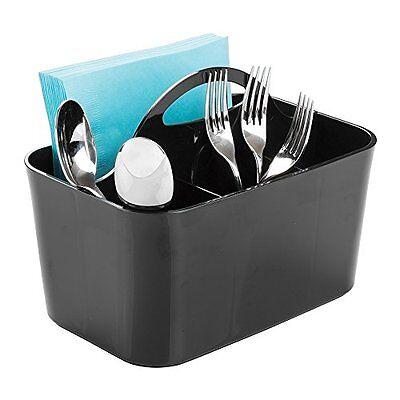 Cutlery Napkin Holder Storage Caddy Kitchen Flatware Picnic Table Dining Black