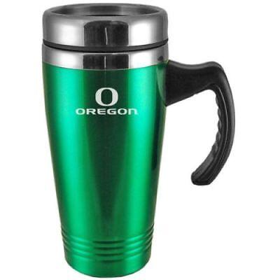 Oregon Ducks Engraved 16oz Stainless Steel Travel Mug - Green Ducks Stainless Steel Travel Mug