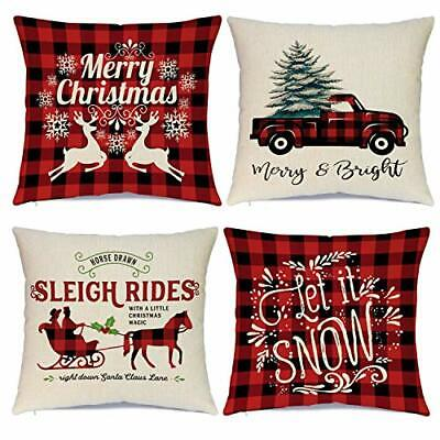 Christmas Pillow Covers 18 x 18 Inches Set of 4 - Xmas Series Cushion Cover Cas