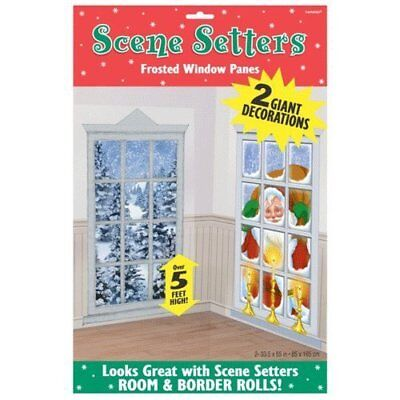 Christmas Decorations Frosted Windows Scene Setter Add-Ons Plastic Decorations X