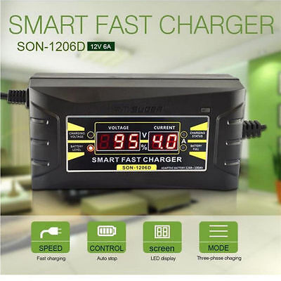 Automatic Smart 12V 6A Lead Acid  Battery Charger For Car Motorcycle Us Eu Plug