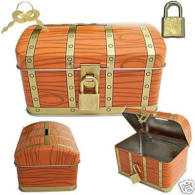 NEW Treasure Chest PIRATES Bank Recipe/Coin/Money/Savings/Piggy/Lock/Key Toy BOX