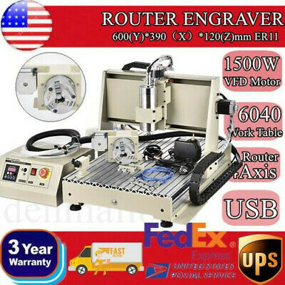 4 Axis Cnc 6040z Router Machine 4 Rotating Axis Milling 1605 Ball Screw 110220v