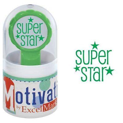 (NEW ExcelMark Motivations Pre Inked Teacher Stamp | Super Star Green Ink)