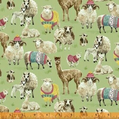 Windham Fabrics knit & purl alpacas & sheep in sweaters 100% cotton fat quarters
