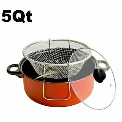 Fryer Pot 5 Qt. With Fry Basket and Glass Lid Olla Para Frei
